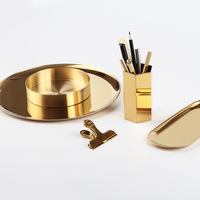 Storage Tray Golden Stainless Steel Desktop Decorative Jewelry Collecting Kitchen Items Storage Tray Multipurpose Beauty