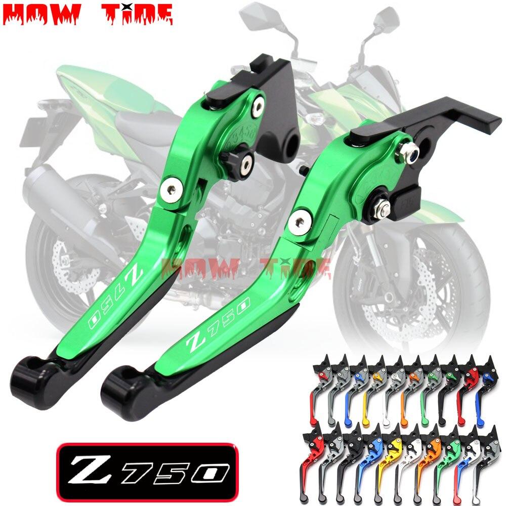Laser Logo For Kawasaki Z750 Z 750 Not Z750S Model 2004 2005 2006 CNC Orange FoldingExtending Motorcycle Brake Clutch Lever In Levers Ropes Cables