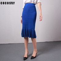 High Quality lady high waist knitted skirt fish tail mermaid skirt women fitted skirts Flounced pencil skirt autumn bud style