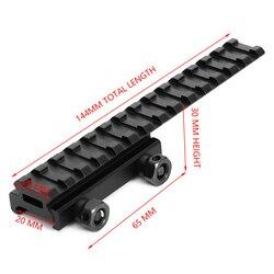 Tactical 20mm Weaver Picatinny mocowanie na szynie Extender Riser akcesoria myśliwskie płasko zakończony Adapter bazowy konwerter do Airsoft w Elementy mocujące i akcesoria do mikroskopu od Sport i rozrywka na