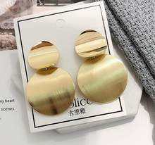 LZHLQ Drop Dangle Earrings Statement Earrings 2018 Fashion Metal Earrings For Women Gold And Silver Jewelry Simple Vintage(China)