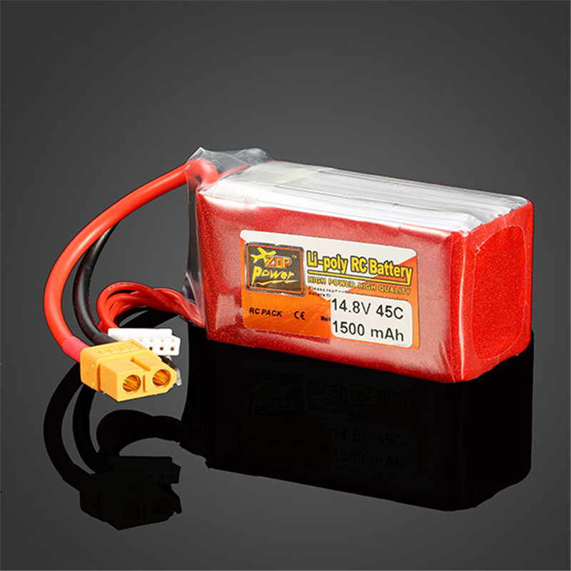 ФОТО zop power 14.8v 1500mah 4s 45c lipo battery xt60 plug rechargeable battery