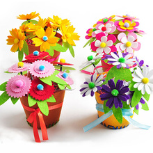 Draw Toys Design DIY Non-Woven Artificial Flower Pot Children Hand Baby Toys Early Childhood Educational Toys Creative Gift Kid