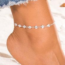 Moda proste Rhinestone obrączki dla kobiet lato plaża boso biżuteria Bohimia kryształowa bransoletka kostki na nodze kobiece kostki