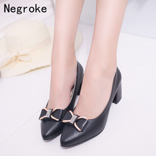 New Women Pumps High Heels Patent Leather Black White Office Wedding Single Shoes Woman Square Heel Zapatos Mujer Plus Size