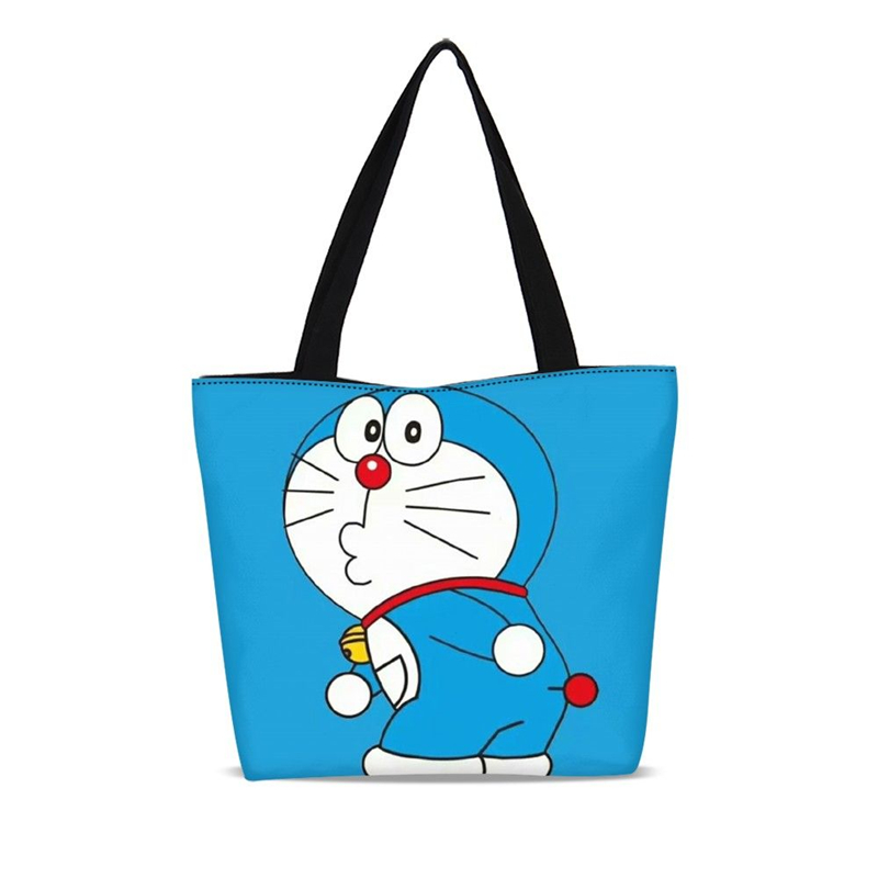 1Pc Custom Environmental Shopping Bags Canvas Shoulder Bag Doraemon Cartoon Tote Package Handbags Designer