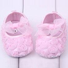 Крещение крещение розовые девушки новорожденный принцесса обувь для новорожденных малышей бабочка-узлов розы Bebe кроссовки Sapatos 0 — 1 г