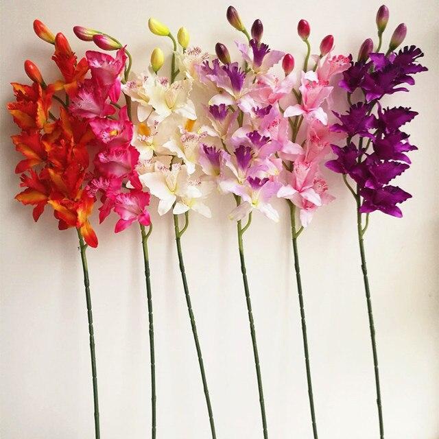 16pcs Artificial Orchids Cymbidium 9 Heads Cattleya Hybrida Orchid