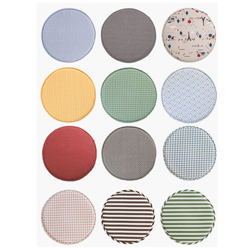 1pc 12.9 Inch Round Seat Cushion Anti-slip Cotton Canvas Chair Cushion 3cm Sponge Thickness Chair Pads Stool Mat For Children