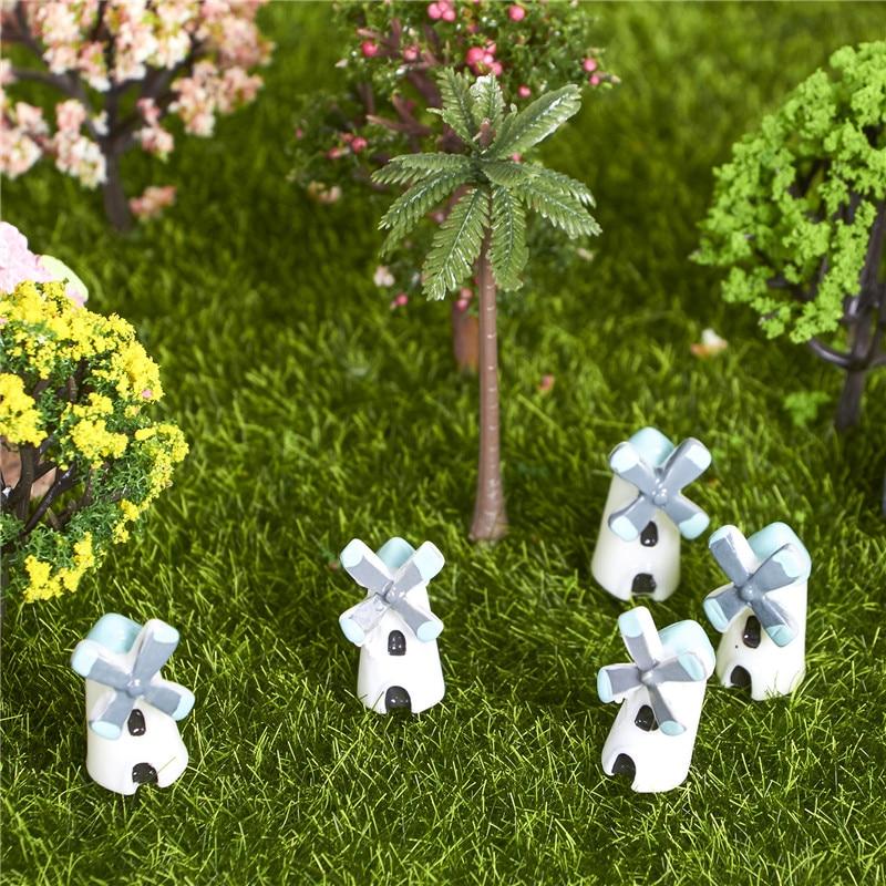 5Pcs Mini Natural Resin Windmill Style Home Garden Decor Miniature Accessories