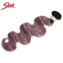 Sleek Brazilian Hair Weave Bundles Body Wave Virgin Hair Extension Ombre TT1B/Purple Color 100% Human Hair Bundles Deal(China)