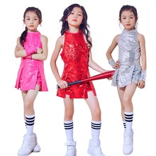 a2371d5fb128 4 PCS Children Girls Sequins Jazz Latin Hiphop Street Dance Dress Costume  Ballroom Dancewear Stage Performance