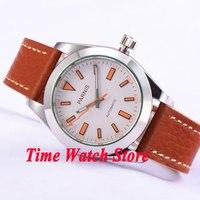 Parnis 40mm miyota 8215 relógio automático masculino safira vidro branco dial laranja marcas luminosas