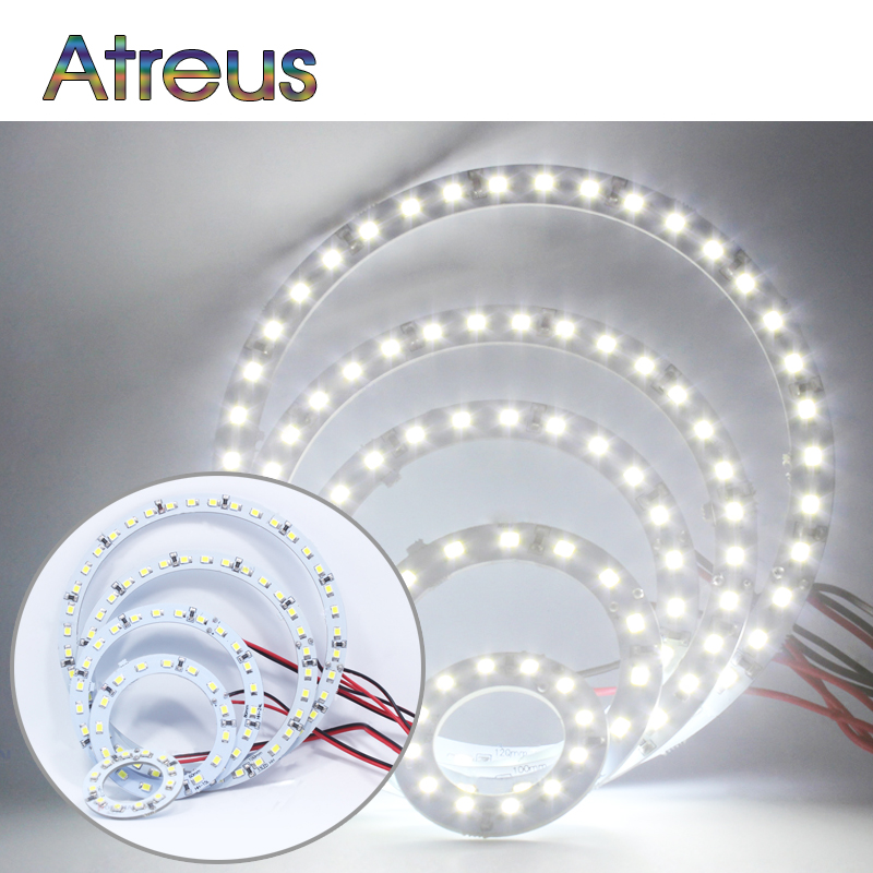 Atreus Car LED Angel Eyes For Renault megane 2 <font><b>Mazda</b></font> 3 <font><b>6</b></font> cx-5 Nissan juke accessories 40/60/80/100/120mm 2X COB DRL <font><b>Lights</b></font> 12V image
