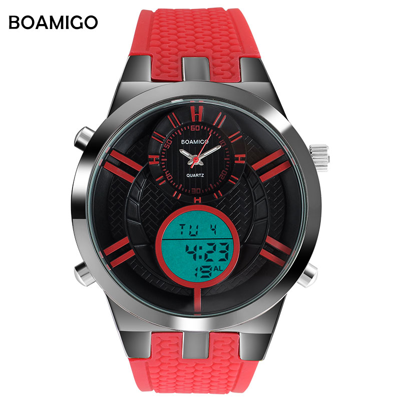 Men Sports Watches BOAMIGO Brand Watches Men Digital LED Watches Rubber Quartz Clock 30M Waterproof Wristwatches Reloj Hombre я immersive digital art 2018 02 10t19 30