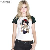 Harajuku Women S T Shirt Cartoon Snow White Princess Cute Animal Printed Tshirts Women Girl Summer
