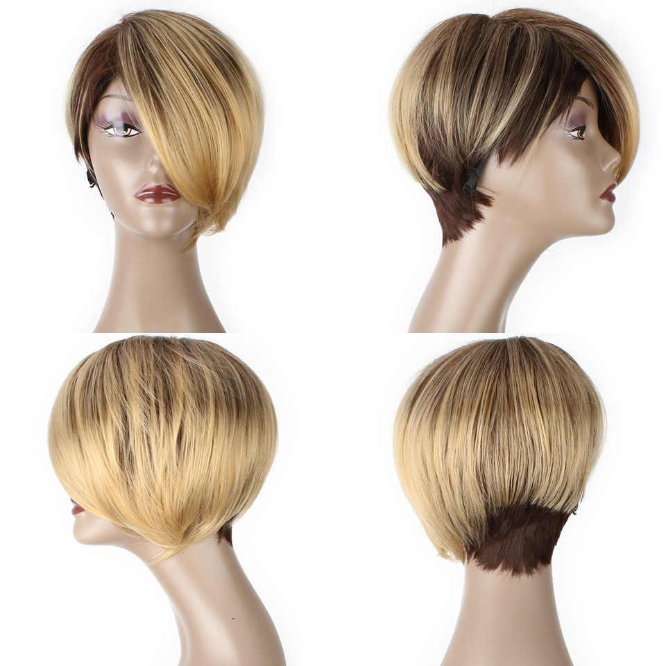 Xtrend Kısa Peruk Sentetik Düz Saç Peruk Kadınlar Için Ombre Sarışın Yüksek Sıcaklık Fiber Cosplay Peri Kesim Peruk Ayarlanabilir