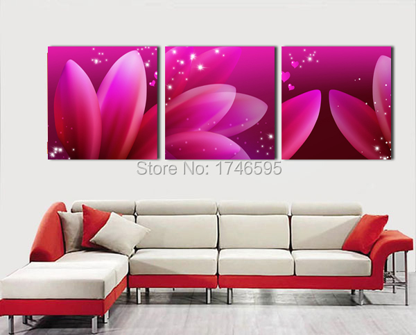 Big 3pieces modern home wall decor abstract aubergine flower Wall ...