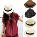 Summer Wide Brim Sun Hats for Women Men Jazz Caps Panama Fedoras Unisex Top Beach Visor Hat Straw Cap Brief Solid