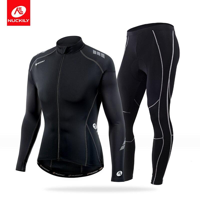 NUCKILY Compression cyclisme costume printemps été à manches longues vélo maillot et route vélo Gel Pad collants vêtements MH009MM003