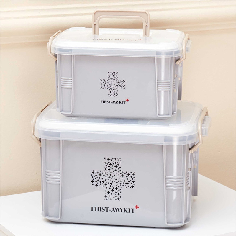 Baffect First Aid Kit Box Medicine Box Plastic Container Emergency Kit Portable 2Layer Large Capacity Medical Storage Organizer
