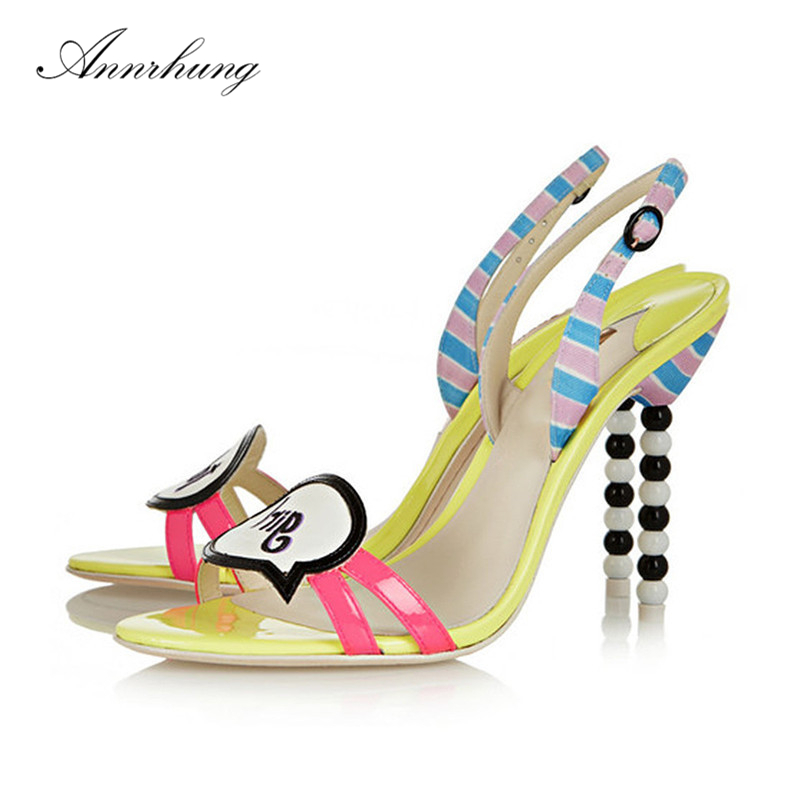 Sweet Mixed Candy Color Summer Sandals Women Sexy Letter Open Toe String Beading Thin High Heel Beach Sandalias For Women