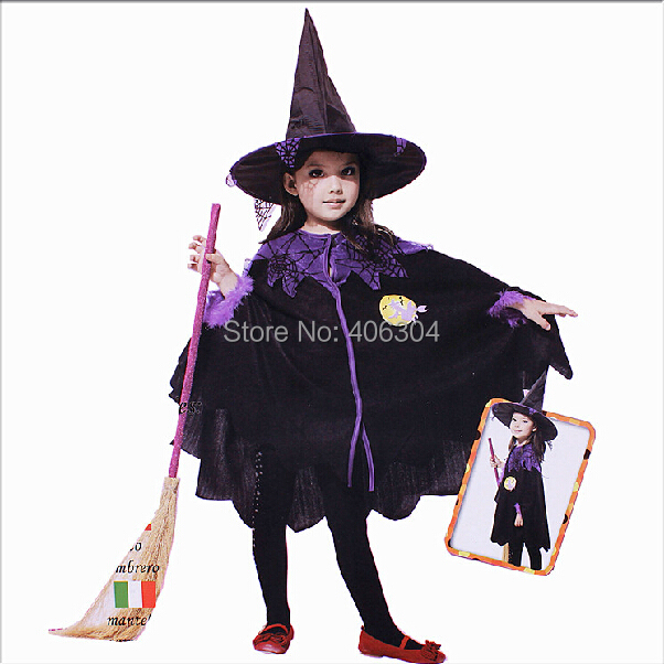 free shipping children black halloween party witch costume cloak with witch hat purple spider clothes - Spider Witch Halloween Costume