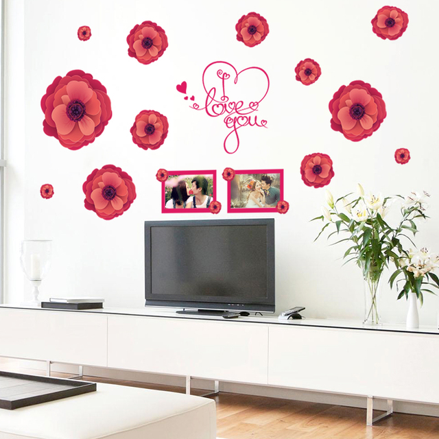 I love you Red Flower photo frame Wall Sticker Furniture Sticker ...