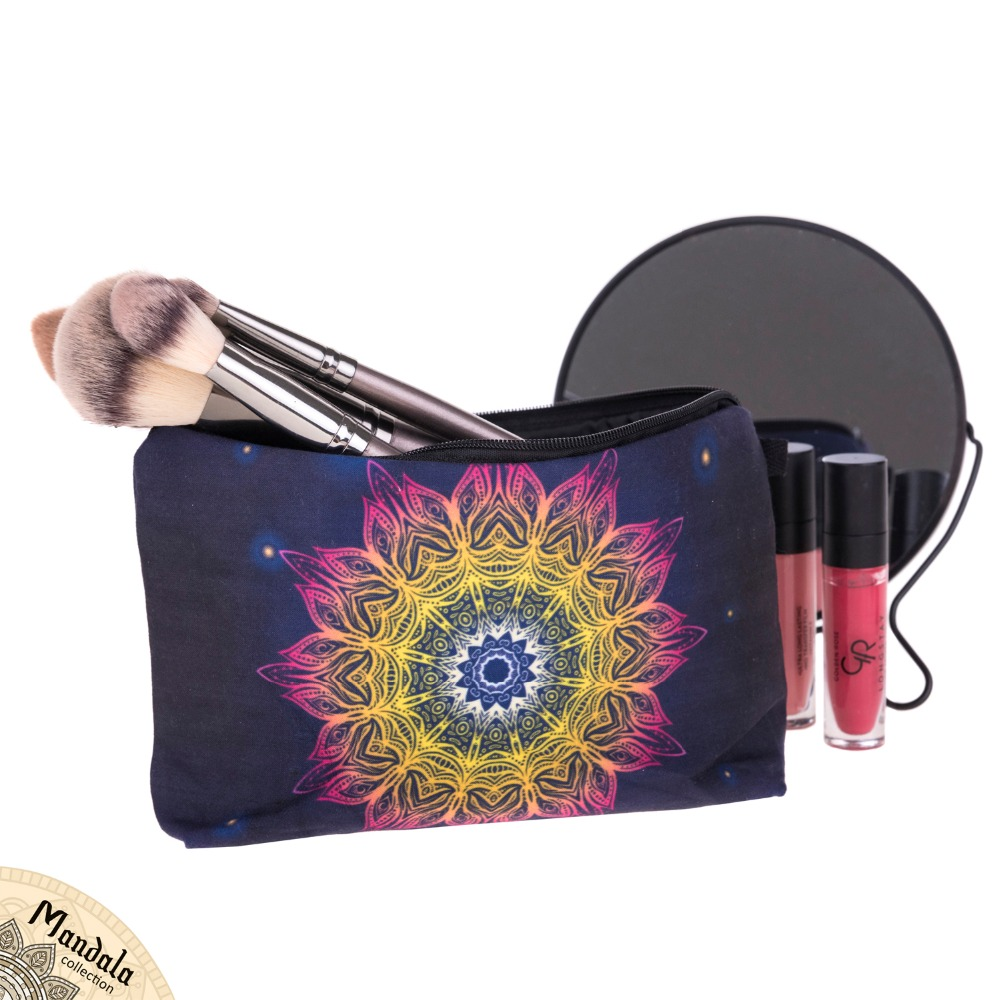 mandala lights 3d printing women cosmetics bags trousse de toilette 2017 neceser organizer. Black Bedroom Furniture Sets. Home Design Ideas