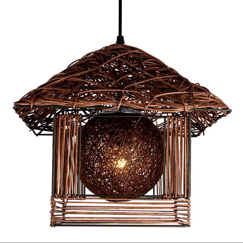 Pastoral Artistic Bird's Nest led pendant lights lamp Rattan single head pendant lighting for restaurant balcony kids room e27