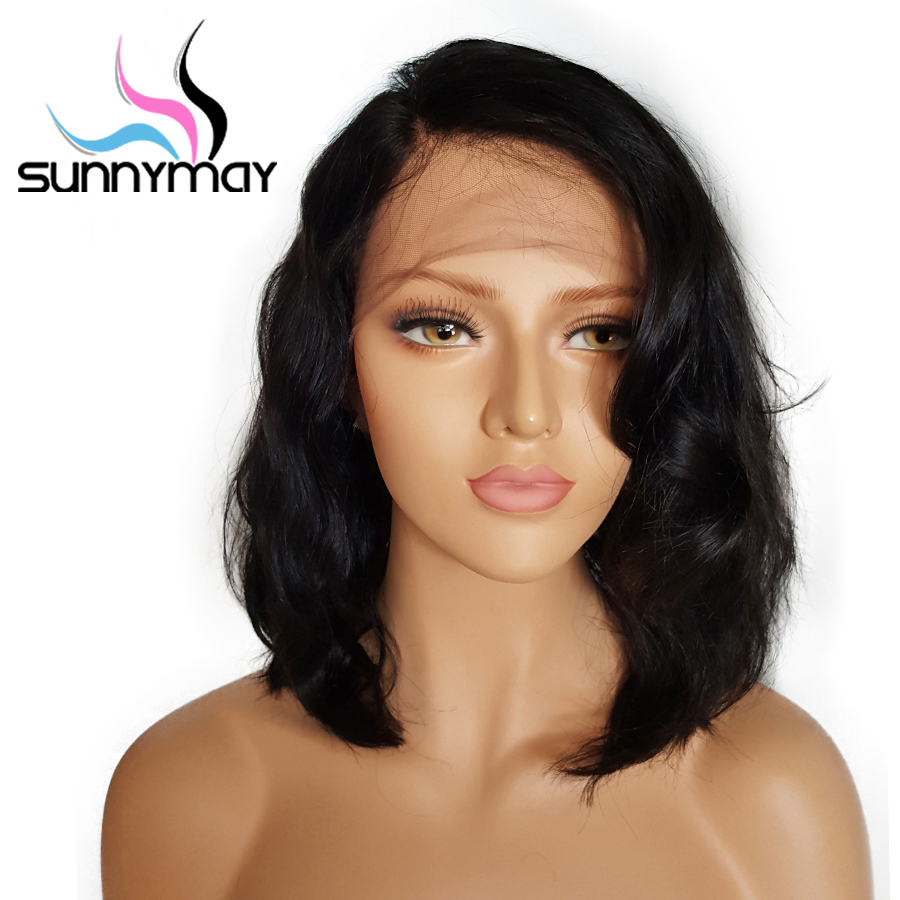 Sunnymay 130% Short Bob Lace Front Human Hair Wigs With Baby Hair 8 to 16 Inch Glueless Brazilian Remy Wavy Wigs Bleached Knots