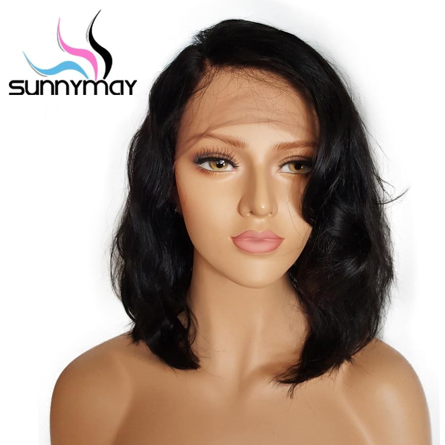 Sunnymay corto Bob Lace pelucas de cabello humano con cabello de - Cabello humano (negro)