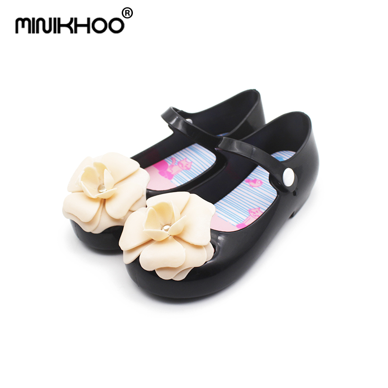 Mini Melissa Original 3D Camellia Girls Jelly Sandals 2018 Summer New Children Shoes Non-slip Melissa Girls Beach Sandals