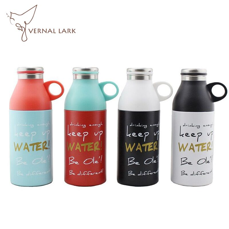 330ml Straight Bullet Thermos Stainless Steel Vacuum Flask With Handle Design Cup Lid Watter Bottle Decorate With Fake Lid