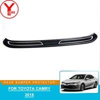 Abs amortecedor traseiro do carro protetor placa bordo para toyota camry 2018 acessórios adesivos protetor para toyota camry 2018 ycsunz Estilo de cromo     -