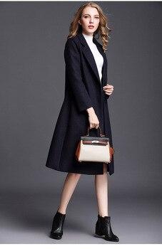 2019 Navy Blue Autumn Winter Fashion Long Women Wool Coat Loose Imitation Cashmere Outerwear Europen Classical Female Overcoat