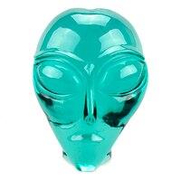 5'smelt зеленый стеклянный хрустальный череп резное Исцеление инопланетный хрустальный череп Реалистичная Статуэтка скульптура ремесло колл