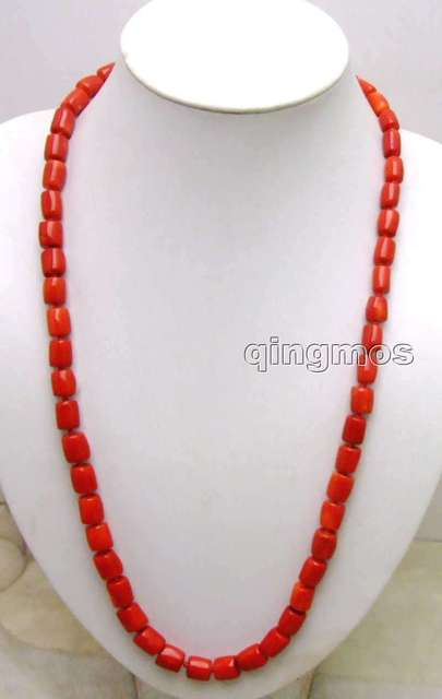 "SALE GENUINE Big 10-11mm Thick Slice NATURAL Red Coral long 27"" Necklace-5845 wholesale/retail Free shipping"