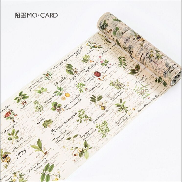 200mm Wide Retro Plants Season Fruits Swatch Decorative Washi Tape DIY Planner Diary Scrapbooking Album Masking Tape Escolar