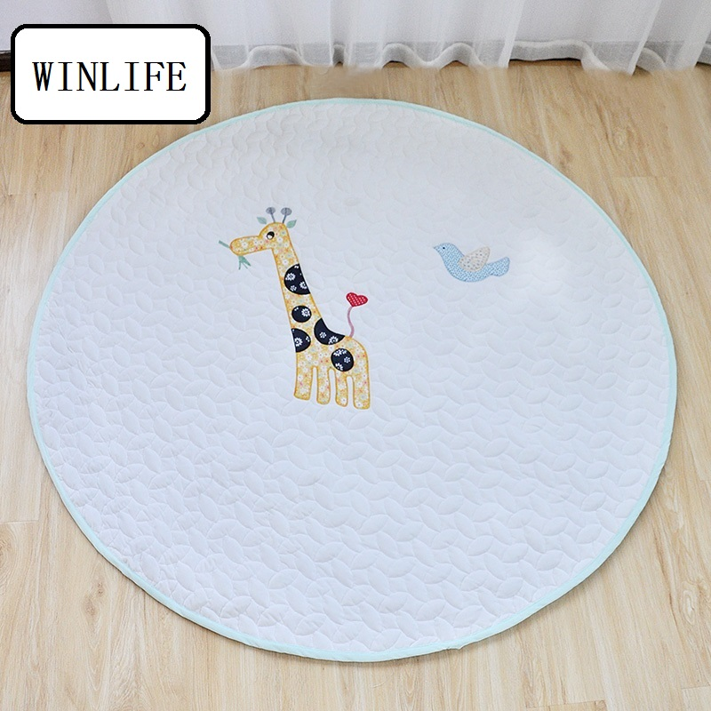 winlife korean cartoon style kids carpets pure cotton mats round area rugs baby crawling mats washable rugs 140x140cm carpets - Washable Rugs