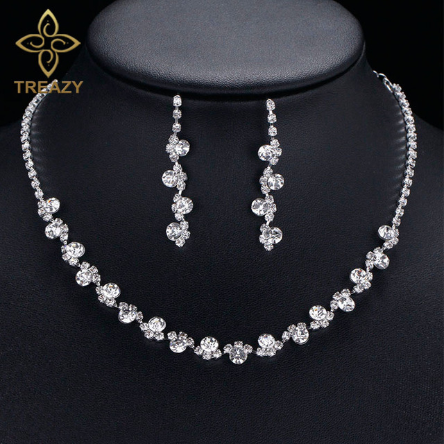 TREAZY Bridal Bridesmaid Jewelry Sets for Women Rhinestone Crystal Choker  Necklace Earrings for Wedding African Jewelry 4168c92453fa