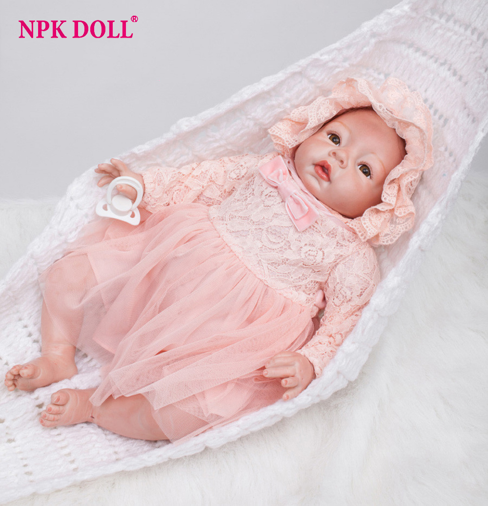 22 Inch Real Looking Dolls Baby Girl Silicone Reborn Dolls Bebe Born Princess Adora Doll Brinquedos Bonecas for Children Gift цена