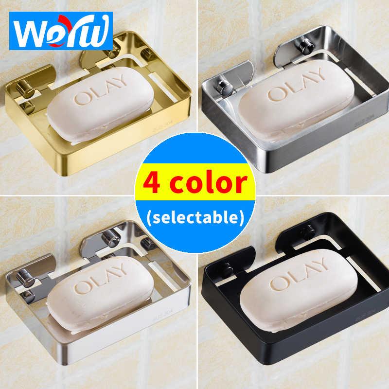 Brushed Stainless Steel Ceramic Soap Holder Brushed Gold Black Soap Dishes