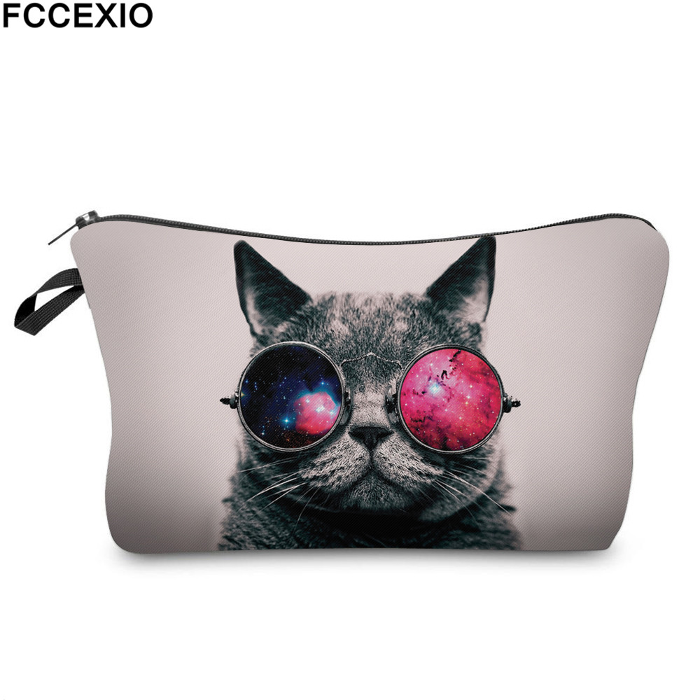 FCCEXIO New 3D Print Makeup Bags With Galaxy Cat Pattern Cute Cosmetics Pouchs For Travel Ladies Pouch Women Cosmetic Bag 05 3d florals pattern u pouch design voile briefs