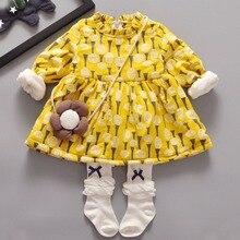 Vestidos de Niña de niño Amarillo Ropa de Bebé de Lana Gruesa Niños Invierno Termal Caliente Vestidos para Niñas de Diente de león de Impresión Vestido de Los Niños