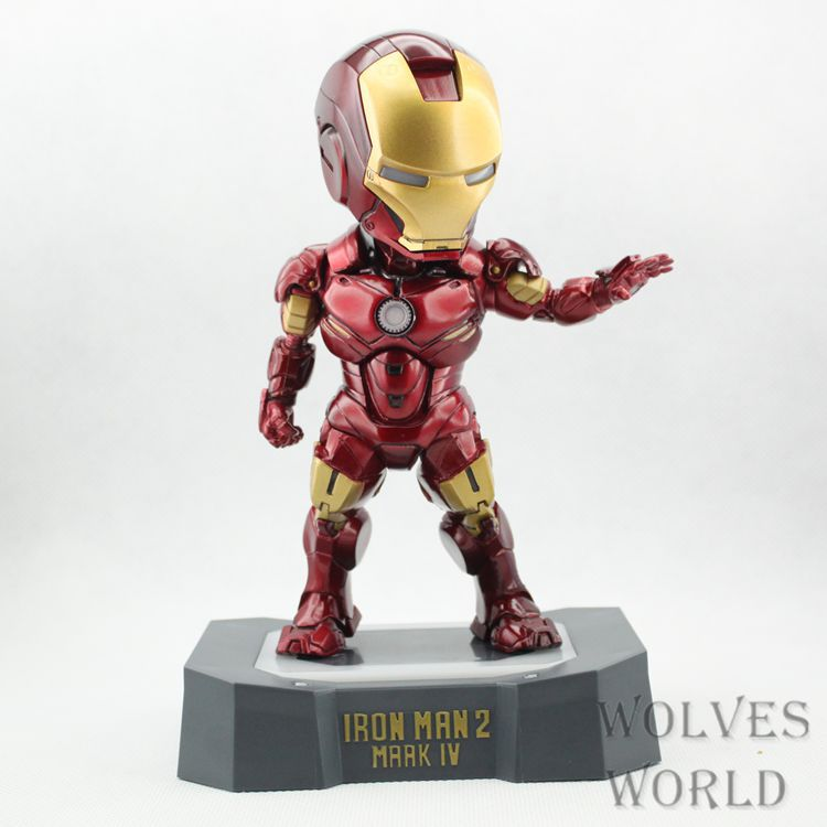 SAINTGI Marvel Avengers Assemble Iron Man Mark4 with light Doll Super Heroes PVC 16CM Action Figure Collection Model Toys Dolls