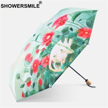 SHOWERSMILE Korea Umbrella Painted Parasol Cat Flower Deer Print Wooden Handle Bumbershoot Three Folding Sun Rain Brolly