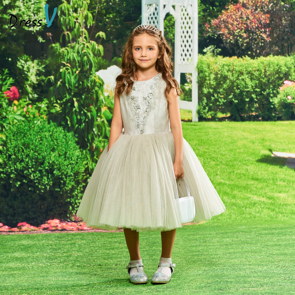Dressv silver   flower     girl     dress   appqiues ball gown beading birthday party knee length zipper up tulle   flower     girl     dress   custom