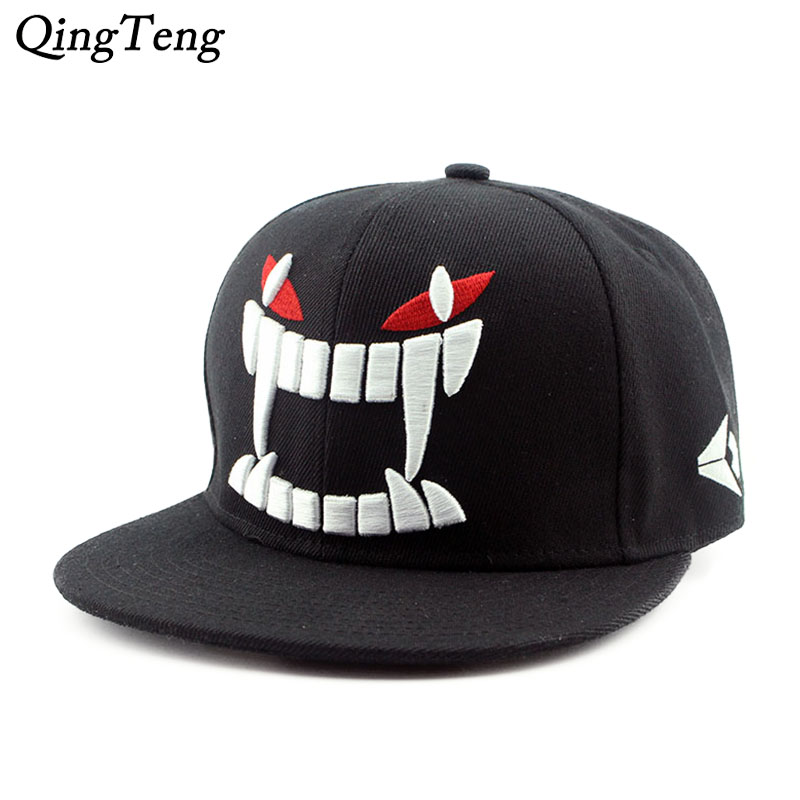 Hot Fashion Devil Fangs Pattern Hip Hop Cap Black Snapback Hat 5 Panel Gorras Planas Hip Hop Mens Cheap Baseball Caps Brand