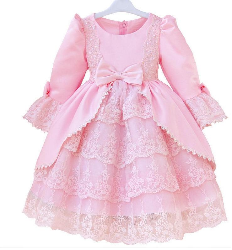 Los niños vestidos fiesta Meninas vestido de bola del o cuello satén ...